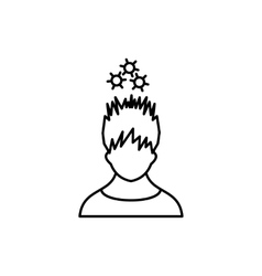 Man with metal gears over head icon outline style vector
