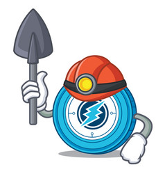 Miner electroneum coin mascot cartoon vector