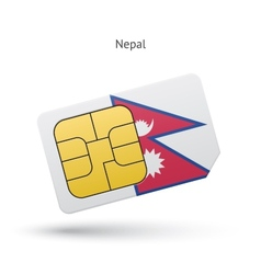 Nepal mobile phone sim card with flag vector