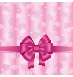 Pink background with ribbon and bow vector image vector image