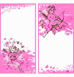 pink valentine banners vector image vector image