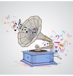 Retro music background with gramophone vector image
