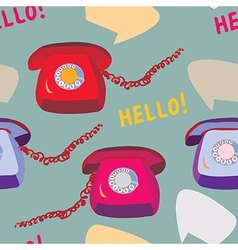 Retro phone seamless funny pattern vector image vector image
