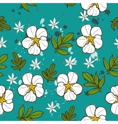 Seamless texture with white flower vector image vector image