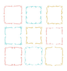 set hand drawn line border vector image vector image