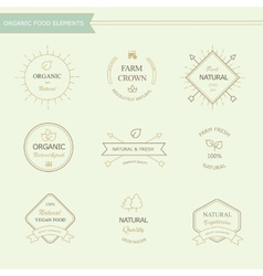 Set of badges and labels elements for organic food vector