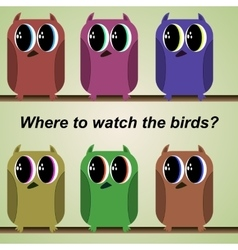 set of colored funny birds vector image