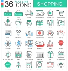 Shopping e-commerce color flat line outline vector image vector image