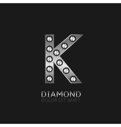Silver k letter vector