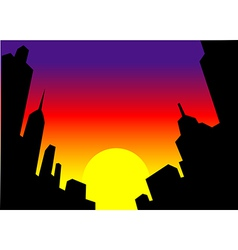 Sunset city skyline background vector