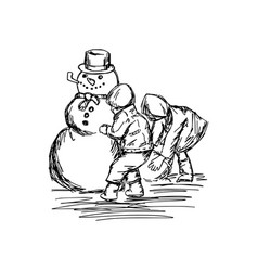 two children building a snowman vector image