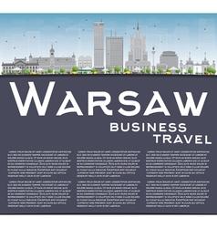 Warsaw skyline with grey buildings blue sky vector
