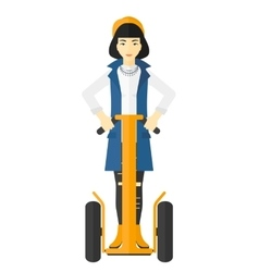 Woman riding on electric scooter vector