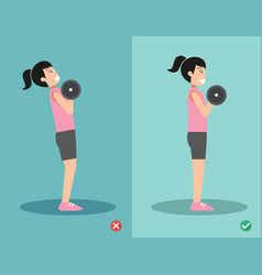 woman wrong and right dumbbell curl posture vector image