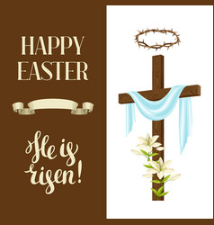 Wooden cross with shroud lily crown of thorns vector