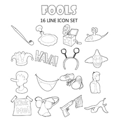 April fools day icons set cartoon ctyle vector