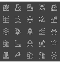 Pollution outline white icons vector