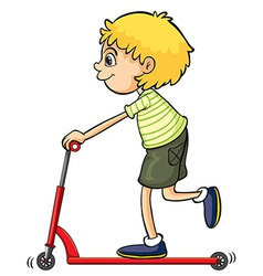 A boy playing push bicycle vector