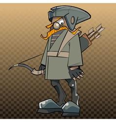 Cartoon man with a bow and arrow in a fabulous vector