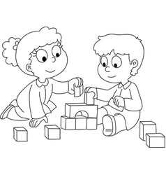 Toddler boy and girl playing vector