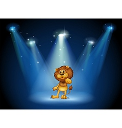 A stage with a brown lion at the center vector