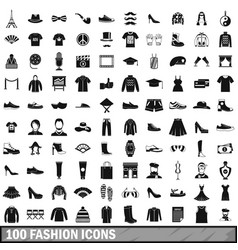 100 fashion icons set in simple style vector