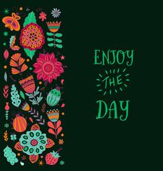 floral card design leaf doodle elements vector image