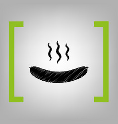 sausage simple sign  black scribble icon vector image