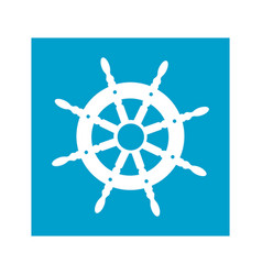 Blue square frame with boat helm vector