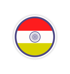 Paper sticker indian flag on white background vector