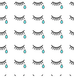 Seamless background with tears and eyelashes vector