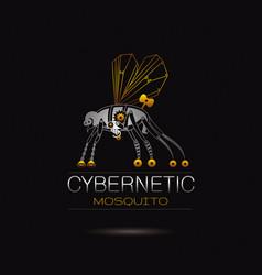 Cybernetic robot mosquito logo icon vector