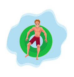 Young man on floating inflatable ring resting in vector