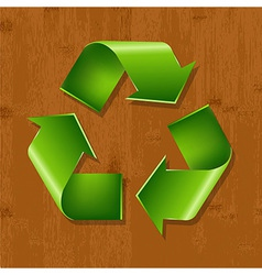 Wood Background With Recycle Symbol vector image