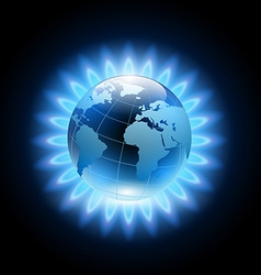Blue flame around the planet earth vector