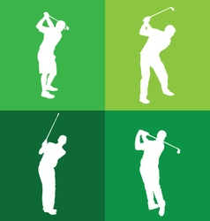 Silhouettes of golf player vector