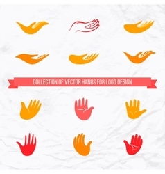 Collection of open palms and hands vector