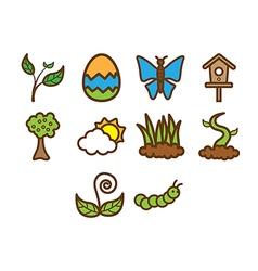 Spring season icon set vector