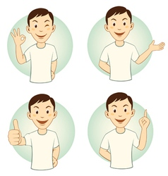 Gesturing cartoon man set vector