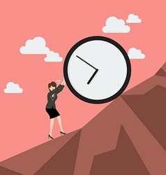 Business woman pushing huge clock uphill vector