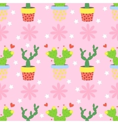 Cactus pattern background seamless pattern vector