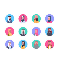 Arabic profile avatar icon set arab men and women vector