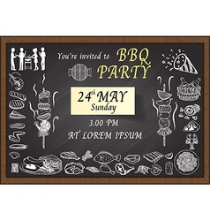 Bbq invitation on chalkboard vector
