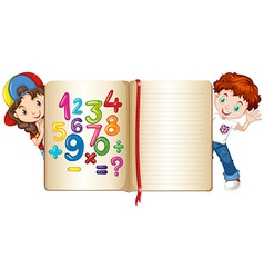 Boy and girl behind math book vector