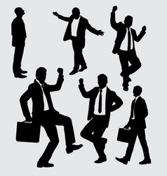 Businessman busy and activity silhouette vector