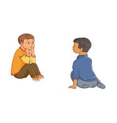 cartoon boys sitting listening attentively vector image vector image