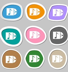 Cd player icon sign multicolored paper stickers vector