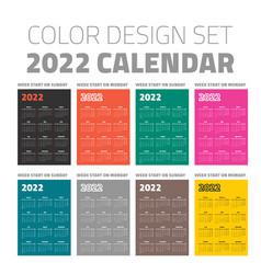 color pocket calendar set 2022 vector image