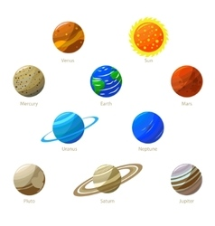 Colorful Solar System Planets and Sun vector image vector image