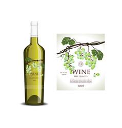 Conceptual transparent label for white wine vector